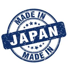 made in japan blue grunge round stamp vector image