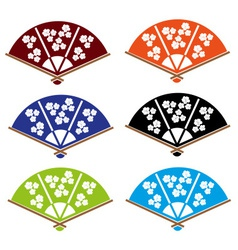 asian hand fan various colors set eps10 vector image vector image