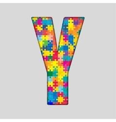 Color Puzzle Piece Jigsaw Letter - Y vector image