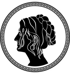 greek woman stencil vector image vector image