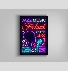 Jazz festival poster neon neon sign neon style vector