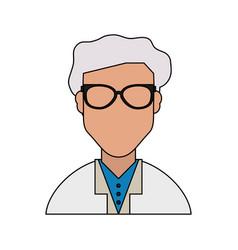 colorful silhouette half body faceless elderly man vector image vector image