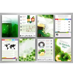 St Patricks Day Infographic backgrounds vector image