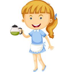 Waitress holding pot of tea vector image vector image