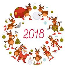 2018 deer and santa cartoon character celebrating vector