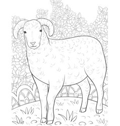Adult coloring bookpage a cute sheep on the vector