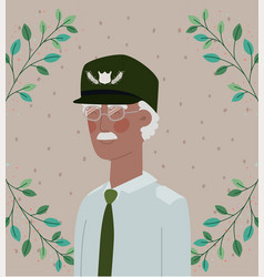 Afro veteran military celebration card with leafs vector