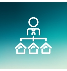 Agent with three houses for sale thin line icon vector image