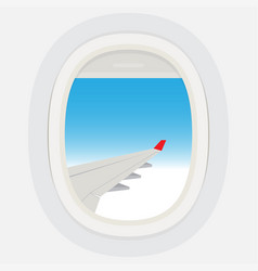 airplane windows with cloudy blue sky outside vector image
