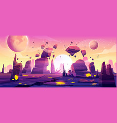 alien planet landscape for space game background vector image