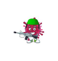Amoeba coronaviruses mascot in army uniform vector