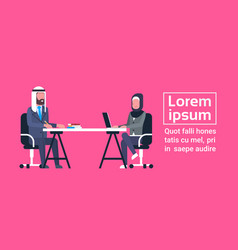 arabic business man and woman sitting at office vector image