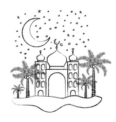 Arabic castle with moon in the night vector