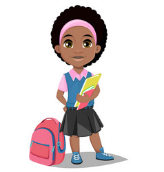 Back to school cute afro-american girl with books vector