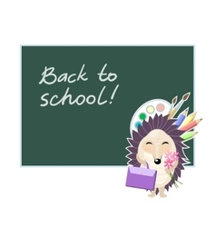 Back to school Funny cartoon hedgehog going to vector image