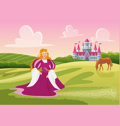 beautiful happy princess or lady holding flowers vector image