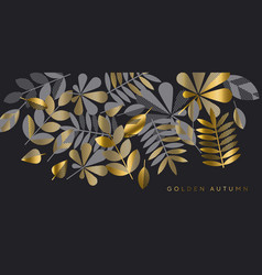 black and gold luxury leaves pattern vector image
