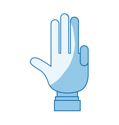 Blue color shading silhouette hand palm showing vector