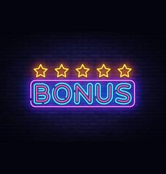 bonus neon text bonus neon sign design vector image