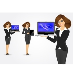businesswoman holding laptop and tablet vector image