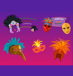 carnival italy and brazil masks celebration vector image