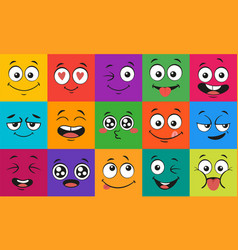 cartoon face expressions happy surprised faces vector image
