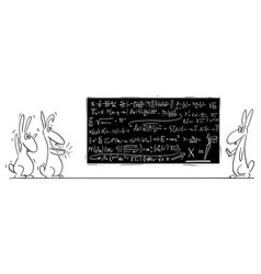cartoon rabbit hare or jackrabbit solving vector image