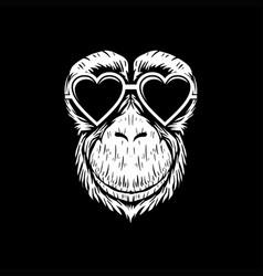 Chimpanzee eyeglasses vector