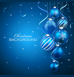 Christmas balls on blue background vector image