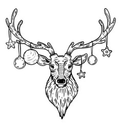 Christmas deer with toys engraving vector