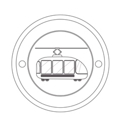circular contour of silhouette with trolley car vector image