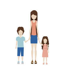 color silhouette with kids and mom with skirt and vector image