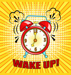 Comic alarm clock ringing and expression with vector
