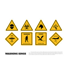Comic fantasy yellow warning signs vector