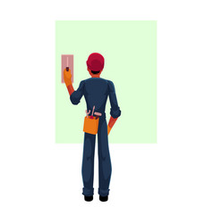 construction worker electrician in hardhat vector image