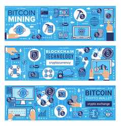 cryptocurrency bitcoin wallet blockchain mining vector image