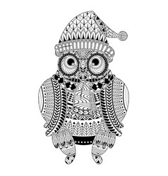 Cute cartoon tribal owl coloring book style vector