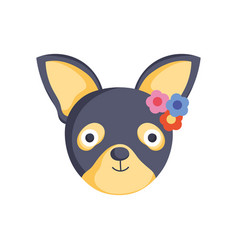 cute dog head with flowers icon vector image