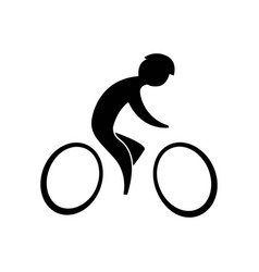 cyclist black on a white background vector image