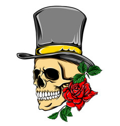 death skull with top hat and red rose for vector image