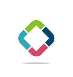 diamond shape colorful l or r letter logo design vector image