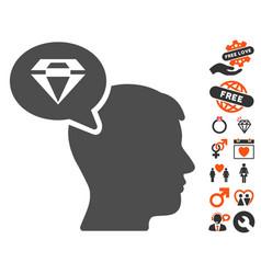 Diamond thinking icon with valentine bonus vector