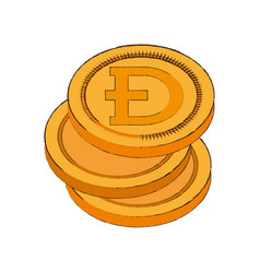dogecoin cryptocurrency stack icon vector image