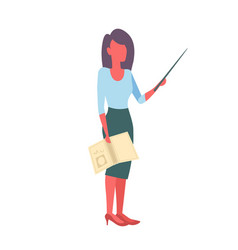 Female teacher holding book and pointer woman vector