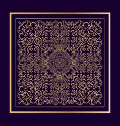 Filigree golden tracery on dark purple background vector