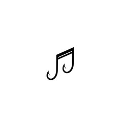 Fishing rod and music logo design vector