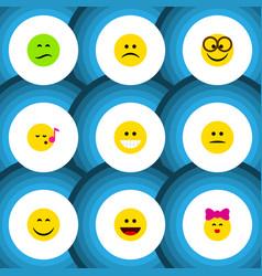 Flat icon gesture set of sad pleasant displeased vector