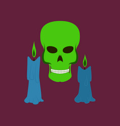 Flat on background of candle skull vector