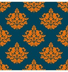 Floral seamless pattern with orange on indigo vector