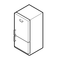 Fridge icon in outline style vector